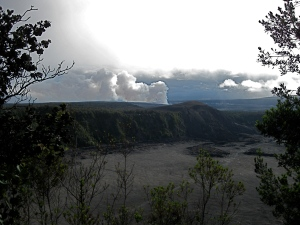 Kilauea Iki from the rim, Kilauea venting in the background --- see the trail?