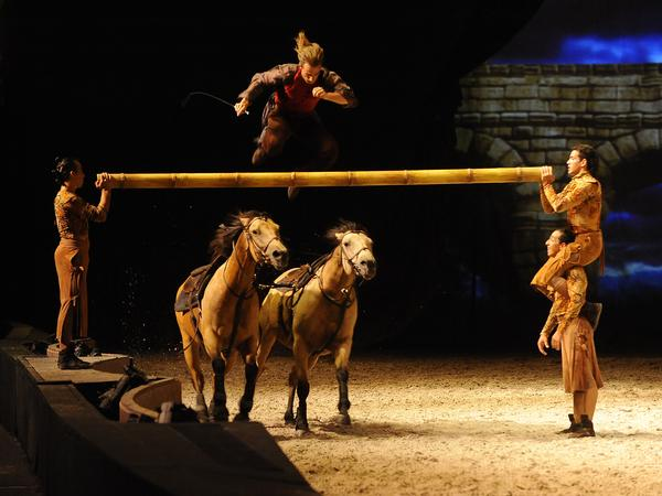 Acrobats and horses