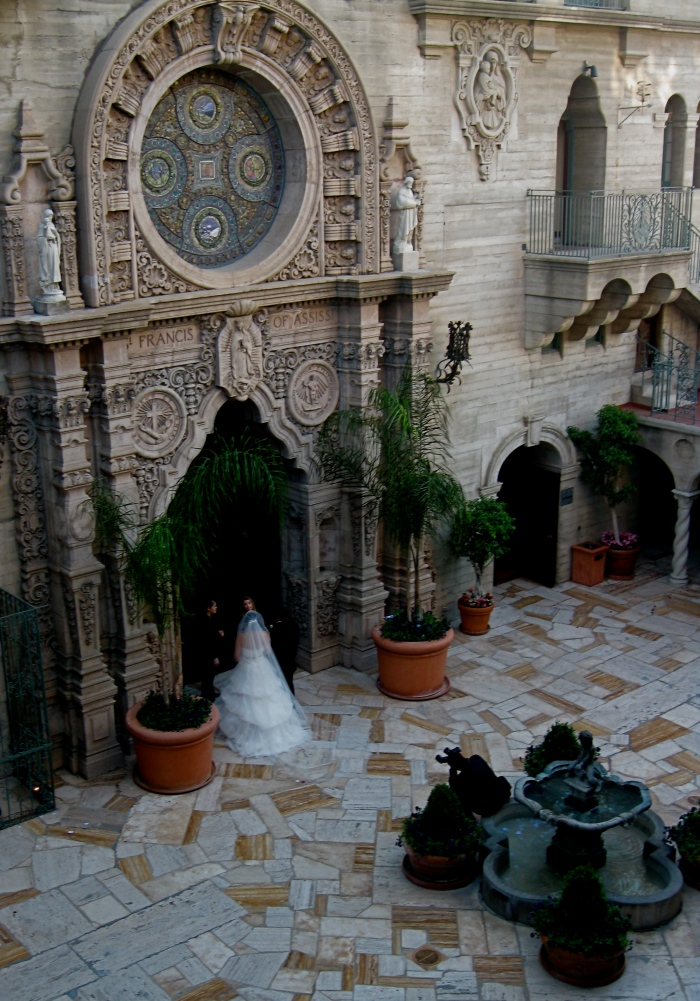 Bride in Mission Inn Chapel Courtyard